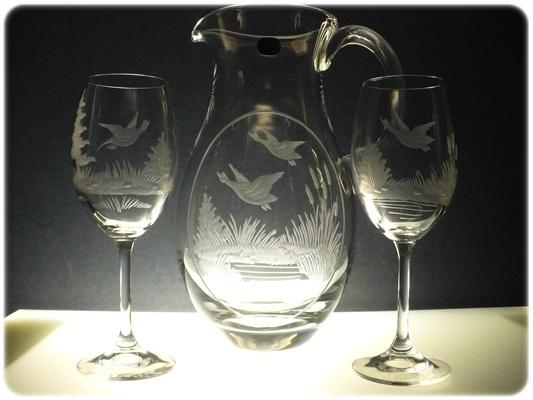 džbán na víno + 2 skleničky Lara 250ml s mysliveckou rytinou, možnost jména na přání