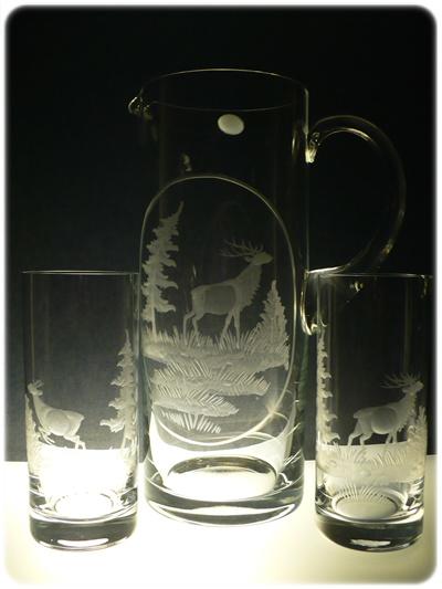 džbán 1,5l +sklenice 2 ks Barline 300ml na pivo s myliveckou rytinou, možnost jména na přání