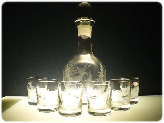 lahev 750ml+ 6 ks Barline 60ml s mysliveckou rytinou,dárek pro myslivce