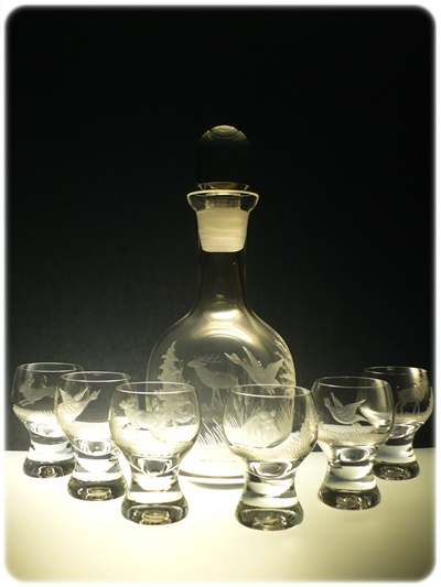 lahev 750ml+ 6 ks Gina 60ml s mysliveckou rytinou,dárek pro myslivce