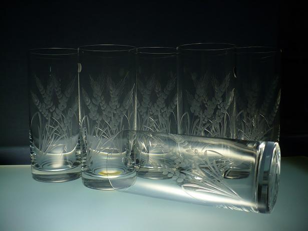 skleničky na pivo 6ks Barline 300ml,sklenice s rytinou klasů,dárek k narozeninám