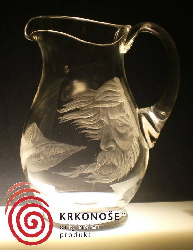 džbán 1,5l s rytinou Krakonoše ,dárek pro milovníky Krkonoš