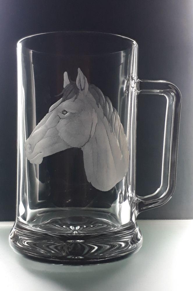 půllitr s koněm , hlavy koně , dárek pro zemědělce,muže i ženu