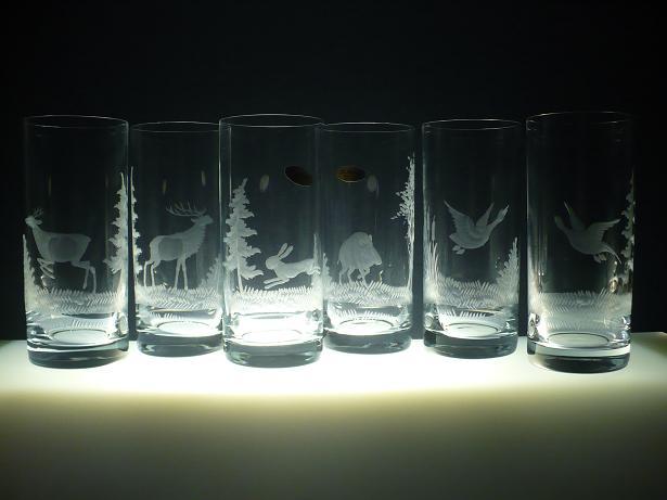 skleničky na pivo 6 ks Barline 300ml,sklenice s rytinou myslivosti, dárek pro myslivce
