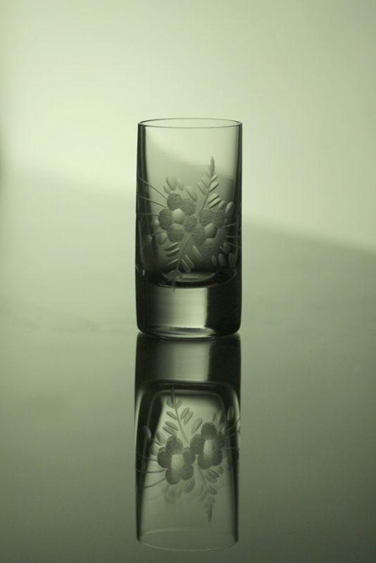 skleničky na likér nebo slivovici 6ks Barline 50ml,sklenice s rytinou květů, dárek k narozeninám