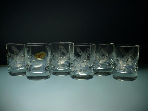 skleničky na likér nebo slivovici 6ks Barline 60ml,sklenice s rytinou klasů, dárek pro dědečka
