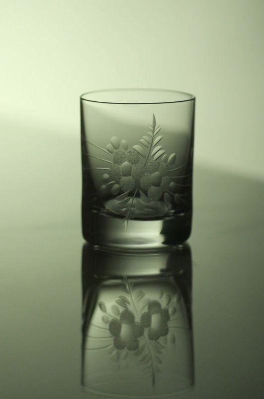 skleničky na likér nebo slivovici 6ks Barline 60ml,sklenice s rytinou květů, dárek k narozeninám