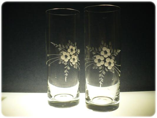 sklenice na pivo (vodu) 6ks Barline 340ml, skleničky s rytinou květ ,dárek k narozenám