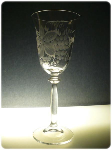 sklenice na víno 2ks Angela 250ml,skleničky s rytinou vinného hroznu, dárek k narozeninám