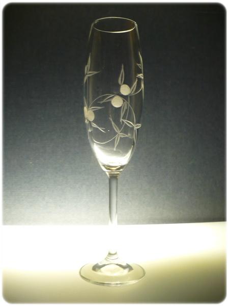 skleničky na sekt 2ks Lara 220ml,sklenice s rytinou bobule, dárkové balení